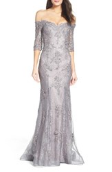 La Femme Women's Fit And Flare Gown With Train Pink Gray