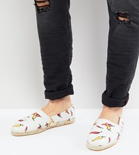 Asos Wide Fit Espadrilles In White With Hot Chilli Print