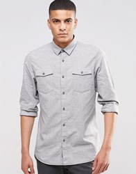 Selected Homme Brushed Double Pocket Shirt Light Grey