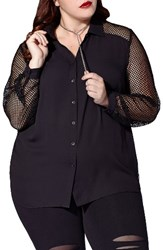 Mblm By Tess Holliday Plus Size Women's Mesh And Challis Shirt