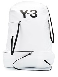 Y 3 Contrast Logo Backpack White