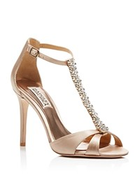 Badgley Mischka Radiant T Strap High Heel Sandals Latte