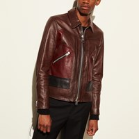 Coach Washed Leather Stinger Jacket Dark Saddle
