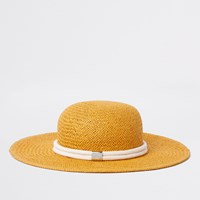 River Island Yellow Woven Straw Rope Trim Hat