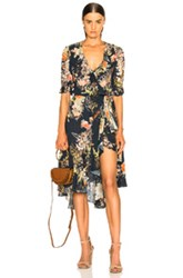 Icons Ruffle Cha Cha Wrap Dress In Blue Floral Blue Floral