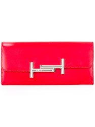 Tod's Logo Plaque Continental Wallet Red