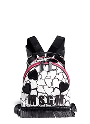 Msgm Heart Print Embroidery Matelasse Logo Fringe Backpack Multi Colour