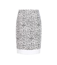Carolina Herrera Speckled Tweed Skirt White