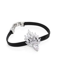 Fallon Monarch Mini Flame Crystal And Leather Bracelet Black