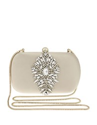Badgley Mischka Aurora Jeweled Minaudiere Clutch Nude
