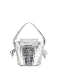 Nancy Gonzalez Bucket Tie Flap Top Crocodile Bag Silver