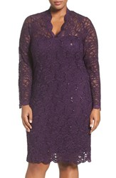 Marina Plus Size Women's Sequin Stretch Lace Sheath Dress