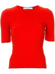 Nobody Denim Luxe Ribbed T Shirt Red
