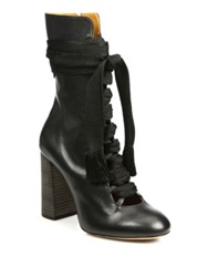Chlo Leather Lace Up Front Mid Calf Boots Black