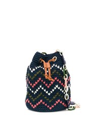 M Missoni Knitted Bucket Bag Blue