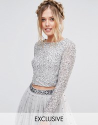 Maya Long Sleeved Crop Top In Delicate Sequin With Scalloped Back Grey