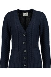 Sea Cable Knit Wool Cardigan Blue