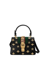 Gucci Sylvie Small Bee Print Leather Top Handle Satchel Bag Black Gold