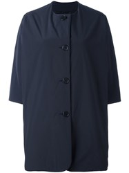 Aspesi Round Neck Boxy Coat Blue