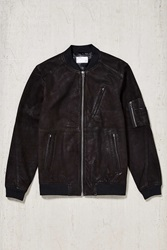 Your Neighbors Marius Leather Bomber Jacket Black