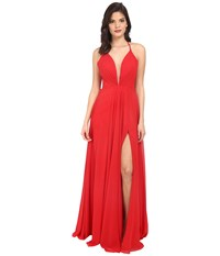 Faviana Chiffon V Neck Gown W Full Skirt 7747 Red Women's Dress