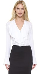 Yigal Azrouel Ruffle Front Blouse White