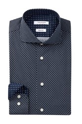 Isaac Mizrahi Long Sleeve Slim Fit Diamond And Dot Dress Shirt Blue