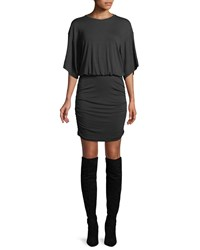 Kendall Kylie Open Back Ruched Tee Dress Black