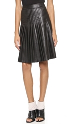 Rebecca Taylor Faux Leather Pleated Skirt Black