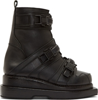 Ktz Black Leather Stacked Sole Boots