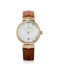 Lancaster Women's Watches Chimaera Yellow Gold Stainless Steel And Brown Croco Leather Watch