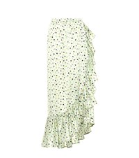 Attico Floral Printed Silk Skirt Green