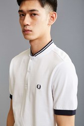 Fred Perry Bomber Collar Pique Henley Tee White