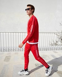 The Kooples Skinny Red Joggers With Red Band Logo And Zip
