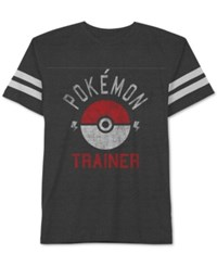 Jem Men's Pokemon Trainer Graphic Print T Shirt Heather Charcoal