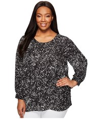 Vince Camuto Specialty Size Plus Long Sleeve Textural Reef Asymmetrical Layered Blouse Rich Black Women's Blouse