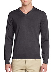 Saks Fifth Avenue Merino Wool V Neck Sweater Charcoal