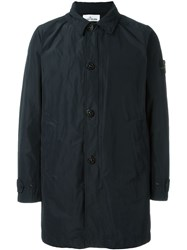 Stone Island Button Down Trench Coat Black