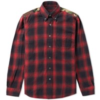 Sophnet. Camouflage Panel Ombre Check Shirt Red