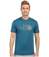 The North Face Short Sleeve Sink Or Swim Rashguard Blue Coral Laurel Wreath Green Wildlife Print Men's Swimwear