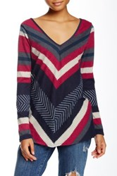 Love Zoe Chevron Print V Neck Long Sleeve Knit Blouse Red
