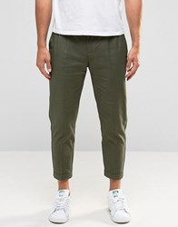 Selected Homme Cropped Chinos With Stretch Green