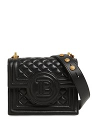 Balmain Quilted Leather Shoulder Bag Black