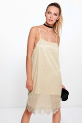 Boohoo Metallic Strappy Lace Bodycon Dress Beige