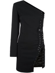 Anthony Vaccarello One Shoulder Fitted Dress Black