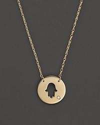 Jane Basch 14K Yellow Gold Cut Out Hamsa Disc Pendant Necklace 16