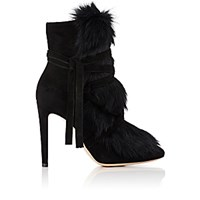 Gianvito Rossi Women's Moritz Suede And Fur Ankle Boots Black
