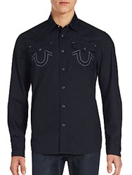 True Religion Solid Button Up Shirt Black