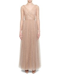 Christian Dior Embroidered Tulle Gown Nude