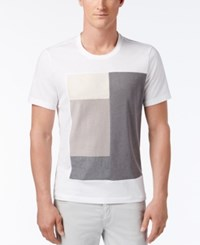 Inc International Concepts Men's Graphic Print T Shirt With Faux Suede Only At Macy's White Pure